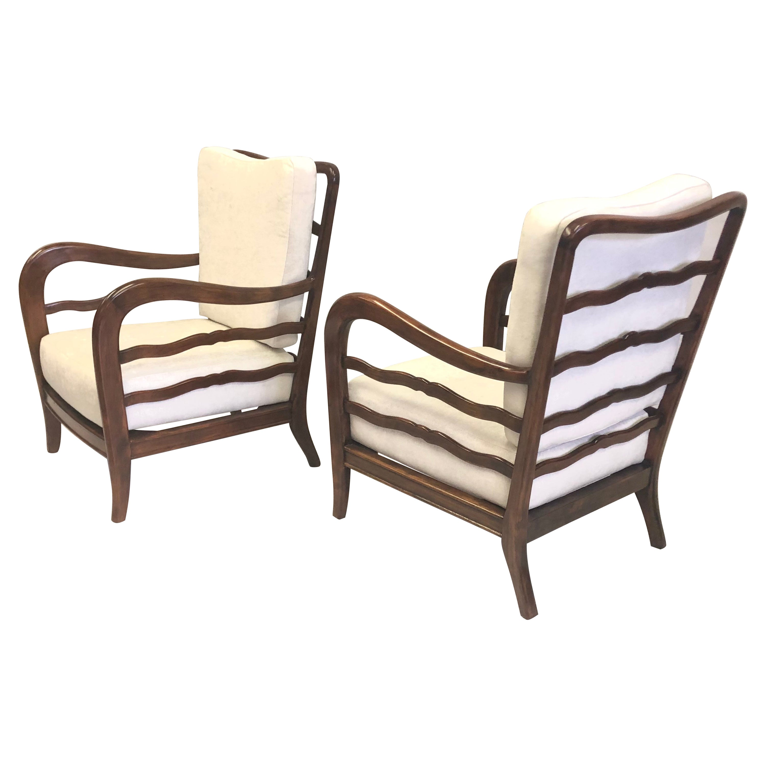 Pair of Italian Mid-Century Modern Neoclassical Cherry Armchairs by Paolo Buffa