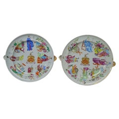 Large Pair Chinese Export Armorial Warming Plates Chauncey Family, Circa 1815
