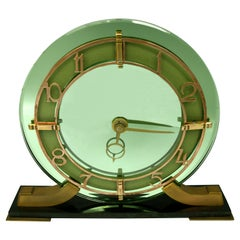 Art Deco Green Mirror Clock by Smiths Clock Company, c1930