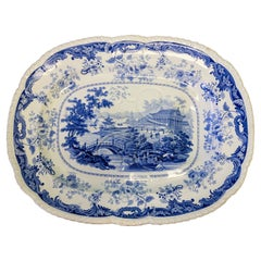 19th-C. Minton Chinese Marine Opaque Blue and White Transferware Platter