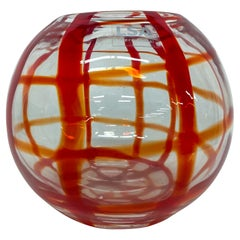 LSA International Art Glass Vase Bold Red Lines Handcrafted Mouth Blown Poland