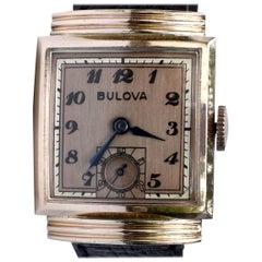 Art Deco 14k Rolled Rose Gold Gents Wristwatch, c1940, Bulova