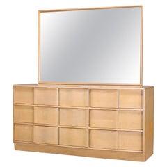 Mid-Century Modern Heywood Wakefield Sculptura Dresser & Mirror, Platinum, c1950