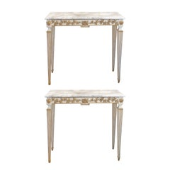 Pair of Neoclassical Italian Gilt and Marble Console Tables