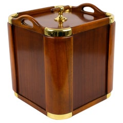 Valenti Spain 1960s Modernist Mahogany and Brass Ice Bucket Champagne Cooler