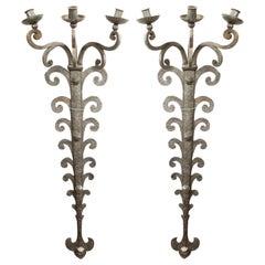 Pair of Italian Renaissance Style Wrought Iron Wall Sconces