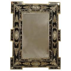 Italian Venetian Neoclassic Etched Blue Glass Wall Mirrors