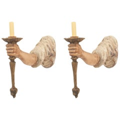 Pair of Italian Venetian Style Tole Metal Arm Shaped Wall Sconces