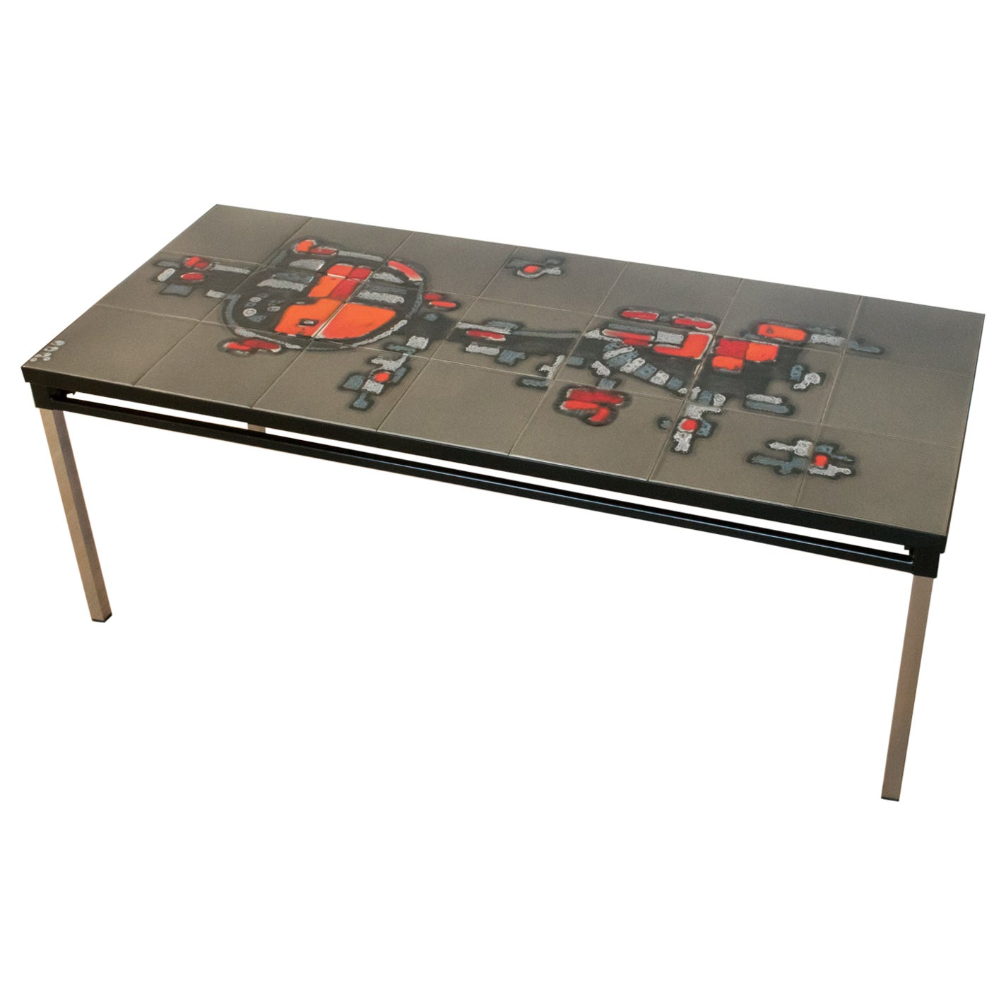 Arti Wrought Iron Ceramic Tile Side Coffee Table by Belarti 1960s