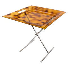 Italian 1980s Folding Tray Side Table Tortoise Lucite and Chrome