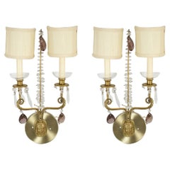 Set of 4 Antique Swedish Mask Design Brass and Crystal Wall Sconces