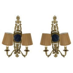 Set of 4 French Mid-Century Brass Mirrored Two Arm Wall Sconces