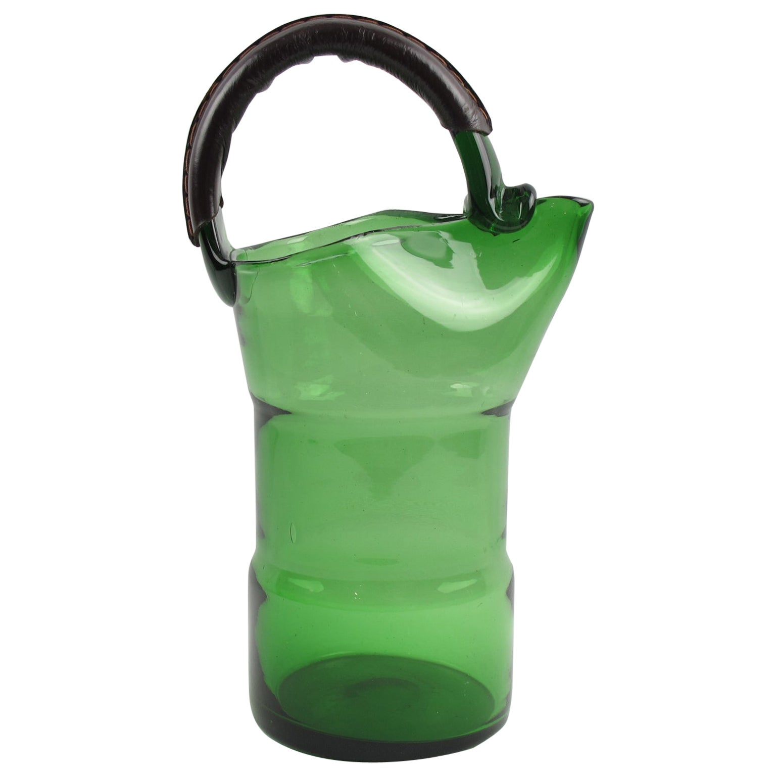 Italian Barware 1960s Glass Pitcher with Leather Handle