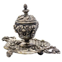 French Louis XV Silver and Bronze Inkwell