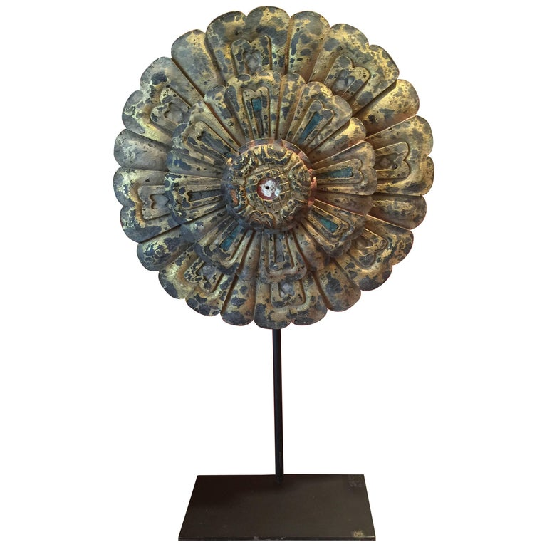 19th Century Thai Flower Carving For Sale