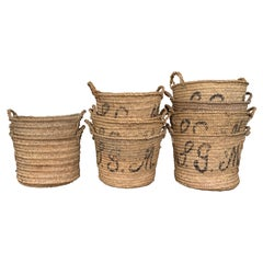 Set of 10 Spanish Woven Wicker Olive Grape Harvest Basket