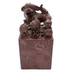 Pair of Chinese Carved Stone Dog Bookends
