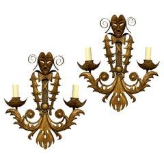 Pair of Venetian Gilt Metal Wall Lights