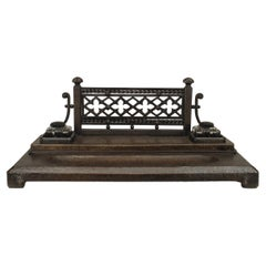 2-Piece Victorian Gothic Iron Double Inkwell Desk Set
