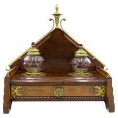 English Arts & Crafts Mahogany and Brass Inkwell