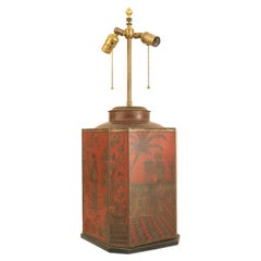 English Victorian Style Chinoiserie Red Tole Table Lamp