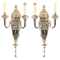 Pair of English Georgian Style Silver Plate Wall Sconces