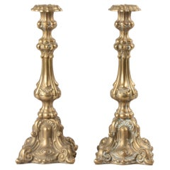 Early 20th Century Baroques Style Brass Candlesticks