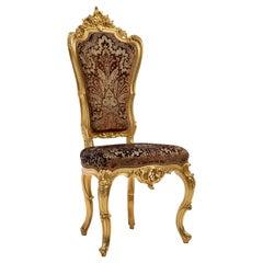 Baroque Chair Finely Hand Carved, Gold Leaf Finished with Devorè Velvet