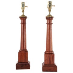 Pair of Italian Neo-Classic Style Wooden Column Table Lamps