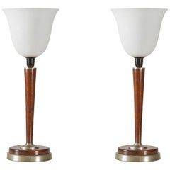 Pair of Art Deco Style Metal and Wood Table Lamps with White Glass Shades