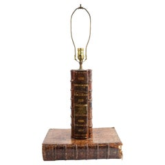 English Victorian Leather Book Table Lamp