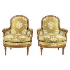 Pair of French Louis XVI Beechwood Bergeres