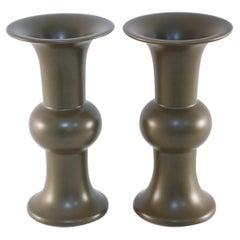 Pair of Chinese Olive Porcelain Beaker Vases