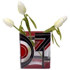 Art Deco Glass & Enamel Etched Vase, C1930