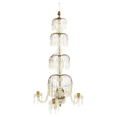 English Regency Style Monumental Crystal and Brass Tiered Wall Sconce