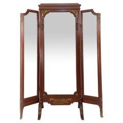 Louis XVI Style Gilt Bronze and Mahogany Cheval Mirror