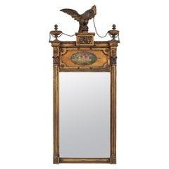 English Adam Style Gilt Wood Eagle Pediment Wall Mirror