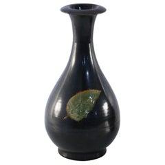 Chinese Black and Green Leaf Glazed Porcelain Pear Vase