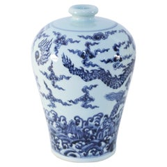 Chinese Blue and White Dragon Motif Porcelain Meiping Vase