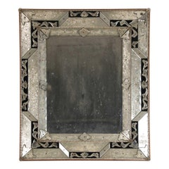 Neoclassical Venetian Silver and Black Wall Mirror