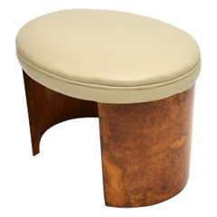 Art Deco Burr Walnut & Leather Stool
