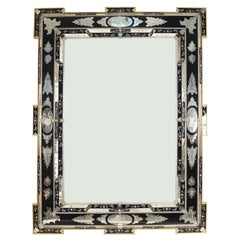 Italian Venetian Style Monumental Etched Glass Wall Mirror
