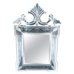 Italian Venetian Style Double Side Scroll Pediment Top Wall Mirror