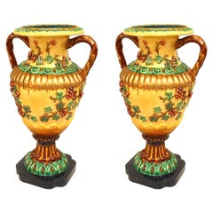 Pair of Italian NeoClassic Style Majolica Porcelain Floor Vases