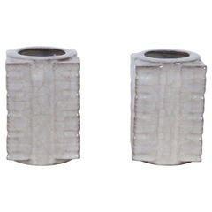 Pair of Chinese Song Dynasty Style Beige Cong Vases