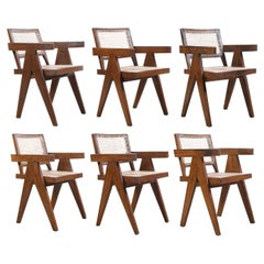 Pierre Jeanneret Set of 6 Chairs / Authentic Mid-Century Modern PJ-SI-28-B