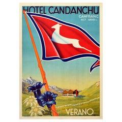 Original Vintage Travel Poster Hotel Candanchu Canfranc Verano Summer Mountains