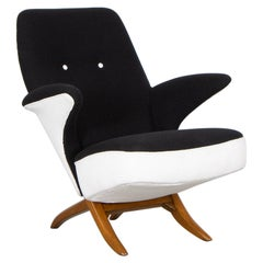 Theo Ruth Penguin Armchair in Black and White Fabric for Artifort, Netherlands