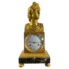 French Empire Apollo Belvedere Ormolu Mantle Clock, Circa 1830