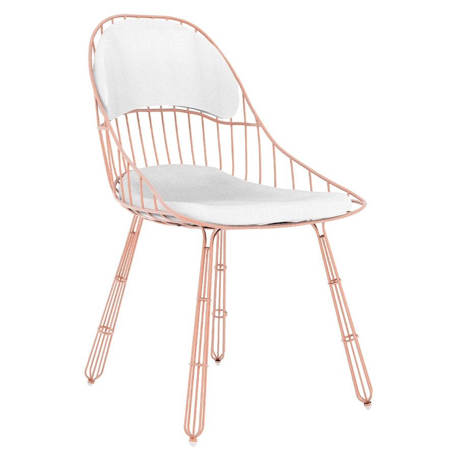 Outdoor Dining Chair Stainless Steel Copper Plated Waterproof White Fabric